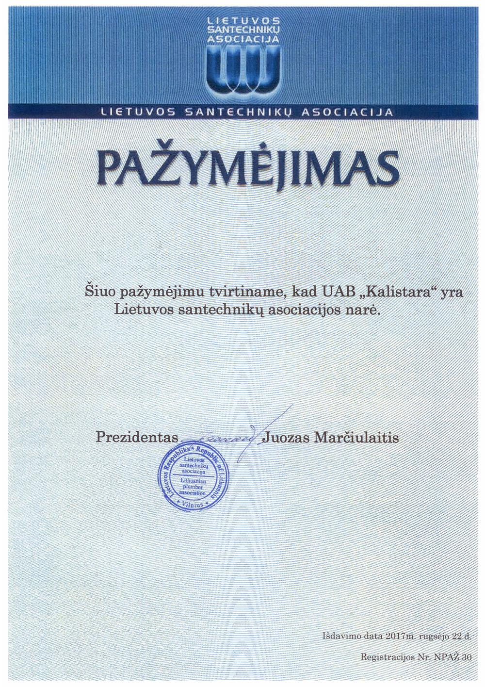 UAB Kalistara Lietuvos santechnikų asociacijos narė